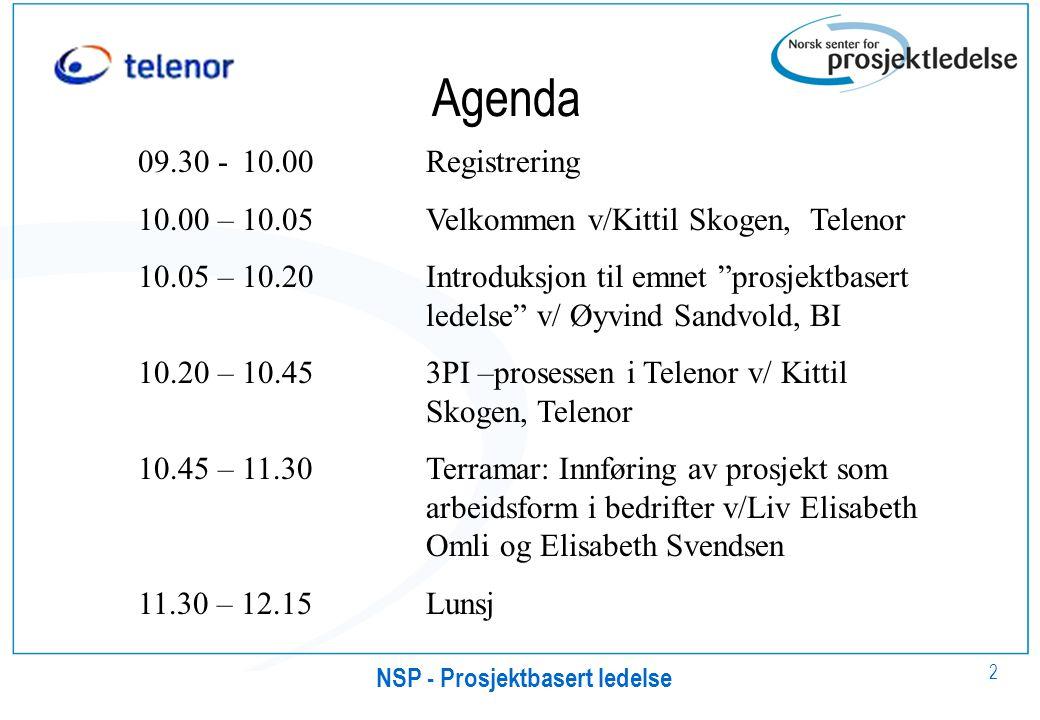 2 Agenda 09.30 - 10.00Registrering 10.00 – 10.05Velkommen v/Kittil Skogen, Telenor 10.05 – 10.20Introduksjon til emnet prosjektbasert ledelse v/ Øyvind Sandvold, BI 10.20 – 10.453PI –prosessen i Telenor v/ Kittil Skogen, Telenor 10.45 – 11.30Terramar: Innføring av prosjekt som arbeidsform i bedrifter v/Liv Elisabeth Omli og Elisabeth Svendsen 11.30 – 12.15Lunsj