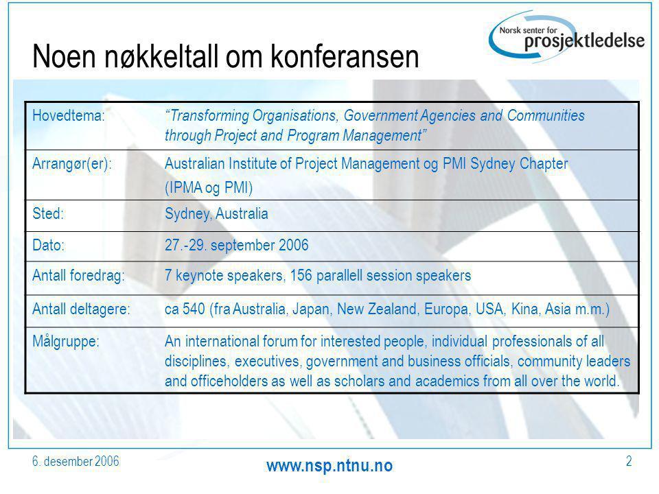 "6. desember 2006 www.nsp.ntnu.no 2 Noen nøkkeltall om konferansen Hovedtema: ""Transforming Organisations, Government Agencies and Communities through"