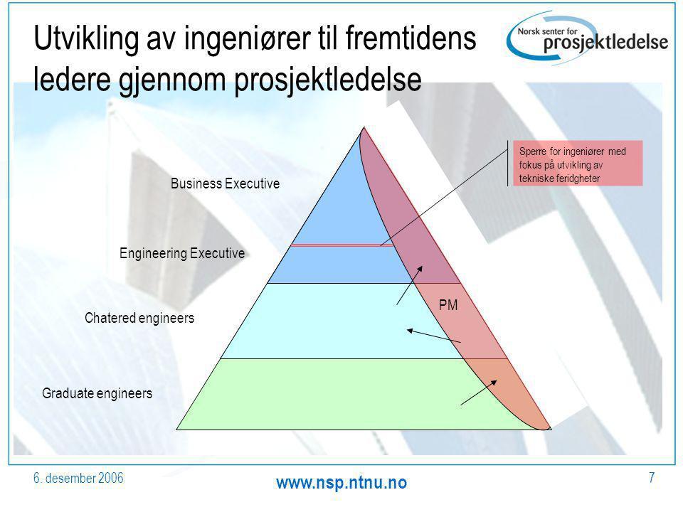 6. desember 2006 www.nsp.ntnu.no 7 Utvikling av ingeniører til fremtidens ledere gjennom prosjektledelse Graduate engineers Chatered engineers Enginee