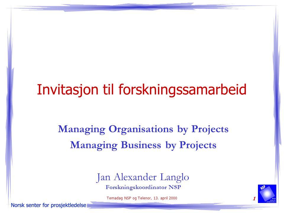 Temadag NSP og Telenor, 13. april 2000 1 Invitasjon til forskningssamarbeid Managing Organisations by Projects Managing Business by Projects Jan Alexa