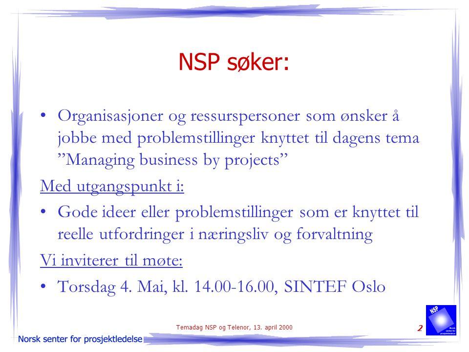 Temadag NSP og Telenor, 13. april 2000 2 NSP søker: Organisasjoner og ressurspersoner som ønsker å jobbe med problemstillinger knyttet til dagens tema