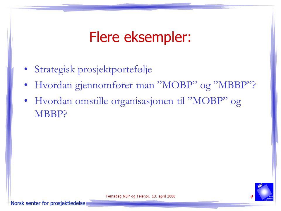 """Temadag NSP og Telenor, 13. april 2000 4 Flere eksempler: Strategisk prosjektportefølje Hvordan gjennomfører man """"MOBP"""" og """"MBBP""""? Hvordan omstille or"""