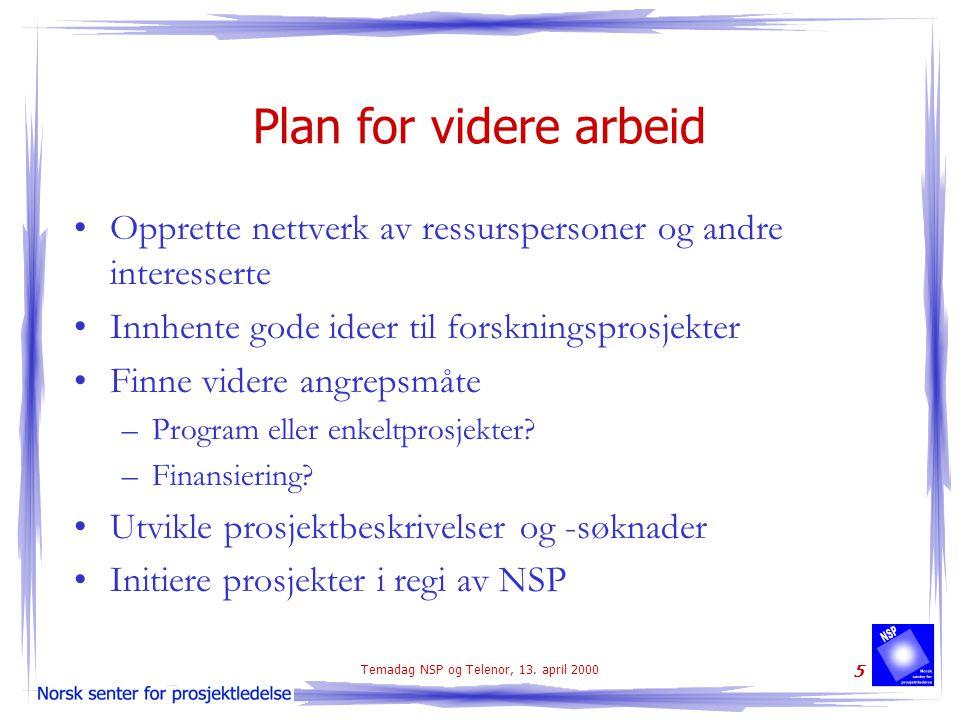 Temadag NSP og Telenor, 13. april 2000 5 Plan for videre arbeid Opprette nettverk av ressurspersoner og andre interesserte Innhente gode ideer til for