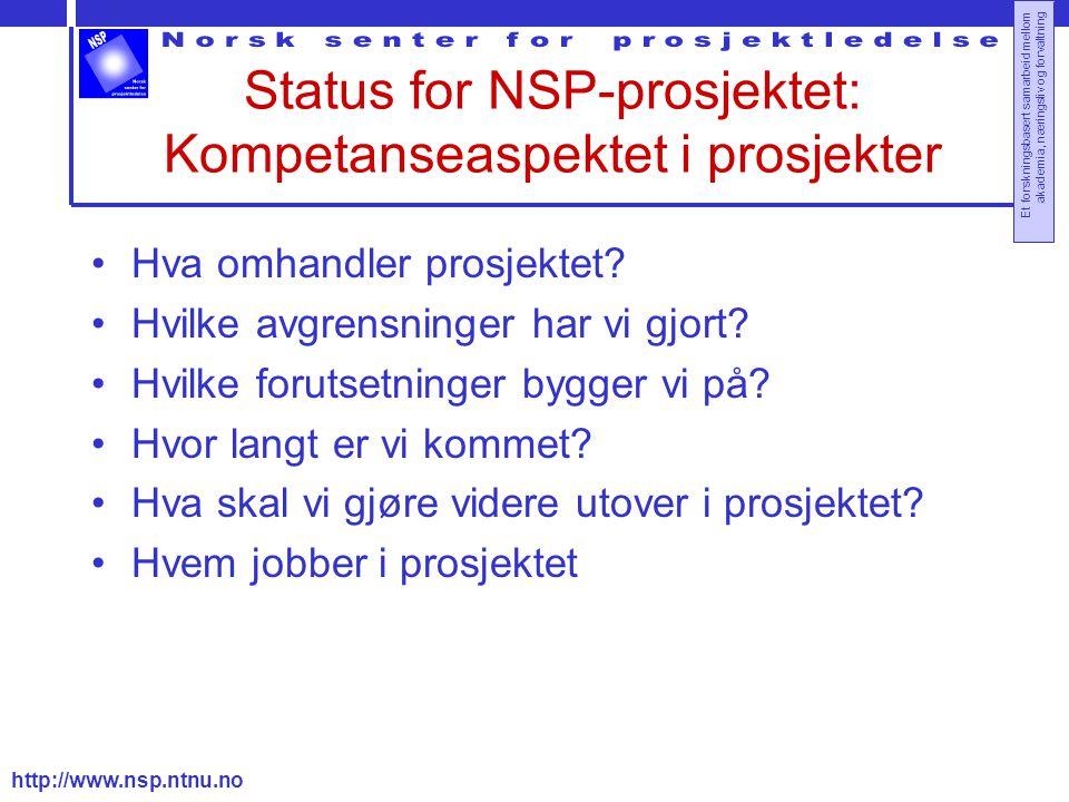 http://www.nsp.ntnu.no Et forskningsbasert samarbeid mellom akademia, næringsliv og forvaltning Status for NSP-prosjektet: Kompetanseaspektet i prosjekter Hva omhandler prosjektet.