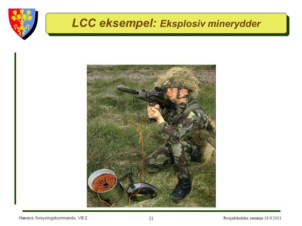 Hærens forsyningskommando, VIII.2 11 Prosjektledelse seminar 18/9 2001 LCC eksempel: Eksplosiv minerydder