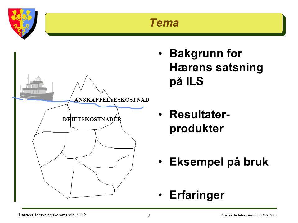 Hærens forsyningskommando, VIII.2 2 Prosjektledelse seminar 18/9 2001 Tema Bakgrunn for Hærens satsning på ILS Resultater- produkter Eksempel på bruk Erfaringer ANSKAFFELSESKOSTNAD DRIFTSKOSTNADER