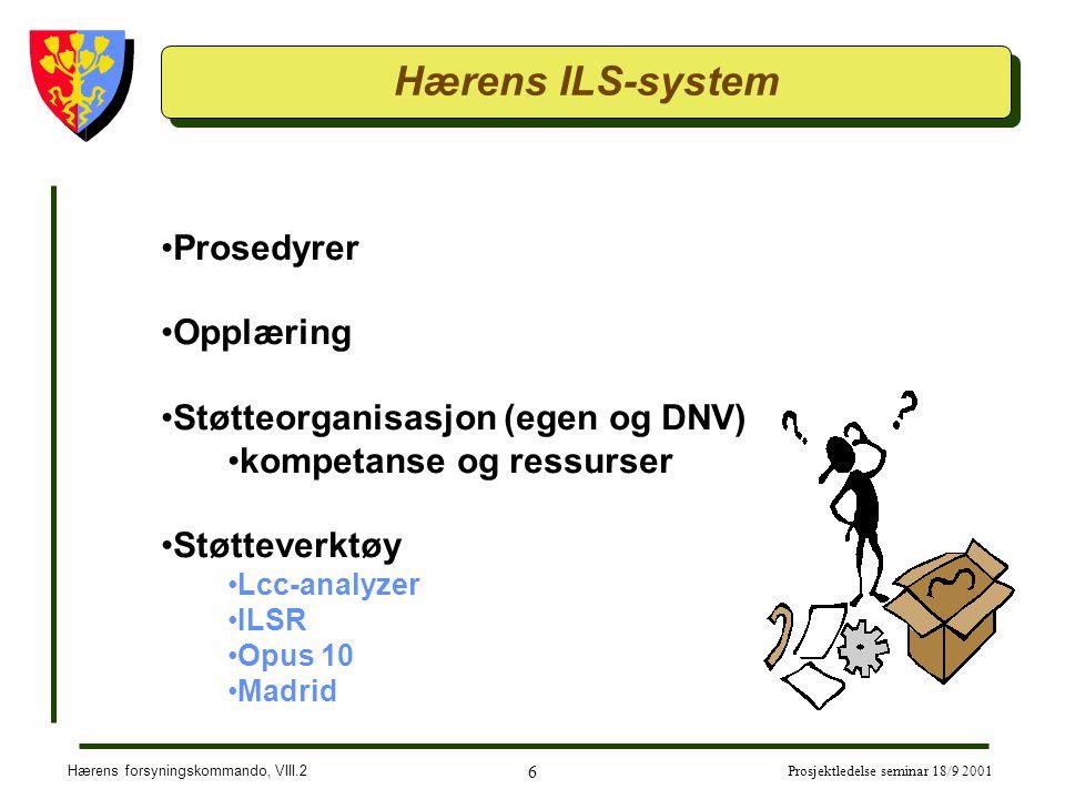 Hærens forsyningskommando, VIII.2 6 Prosjektledelse seminar 18/9 2001 Hærens ILS-system Prosedyrer Opplæring Støtteorganisasjon (egen og DNV) kompetanse og ressurser Støtteverktøy Lcc-analyzer ILSR Opus 10 Madrid