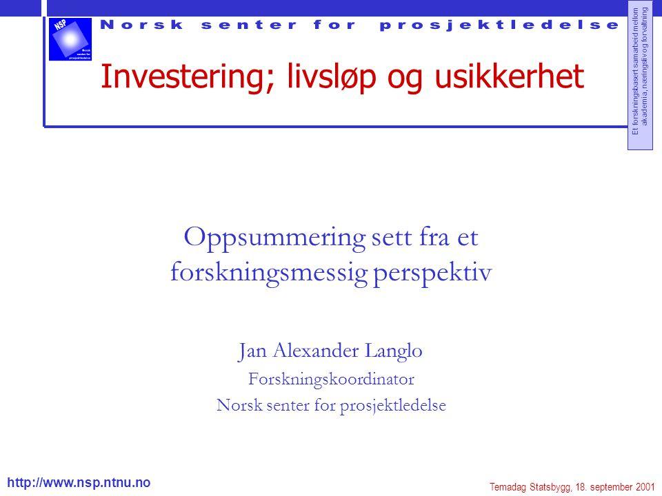 http://www.nsp.ntnu.no Et forskningsbasert samarbeid mellom akademia, næringsliv og forvaltning Investering; livsløp og usikkerhet Oppsummering sett f
