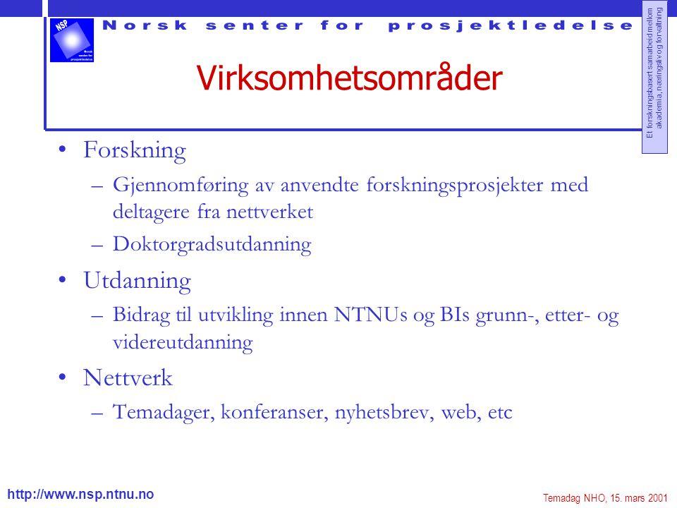 http://www.nsp.ntnu.no Et forskningsbasert samarbeid mellom akademia, næringsliv og forvaltning Virksomhetsområder Forskning –Gjennomføring av anvendt
