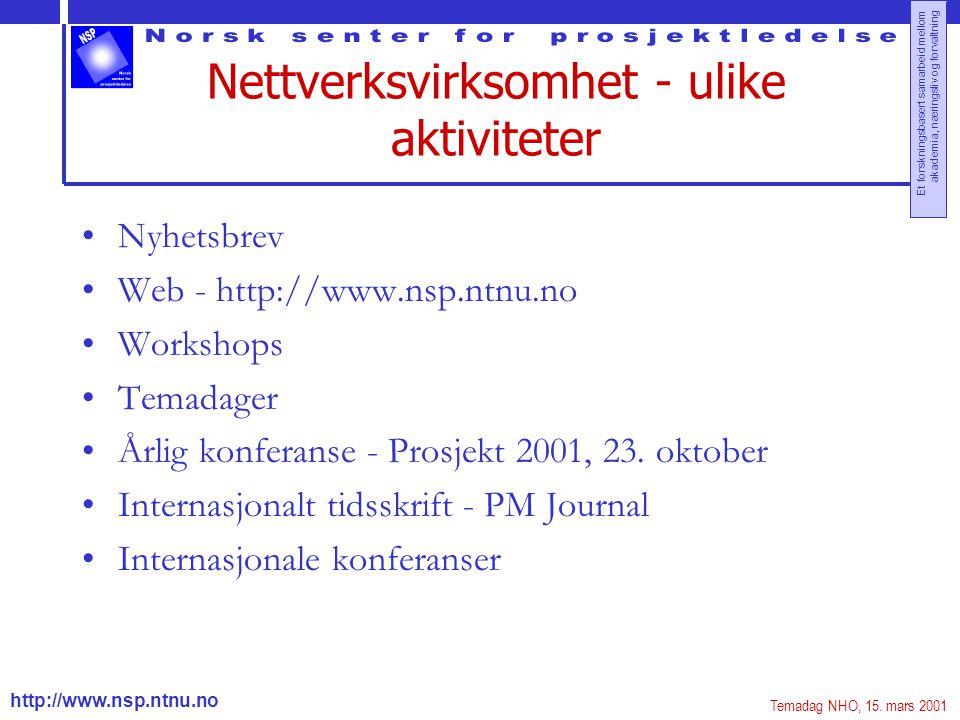 http://www.nsp.ntnu.no Et forskningsbasert samarbeid mellom akademia, næringsliv og forvaltning Nettverksvirksomhet - ulike aktiviteter Nyhetsbrev Web