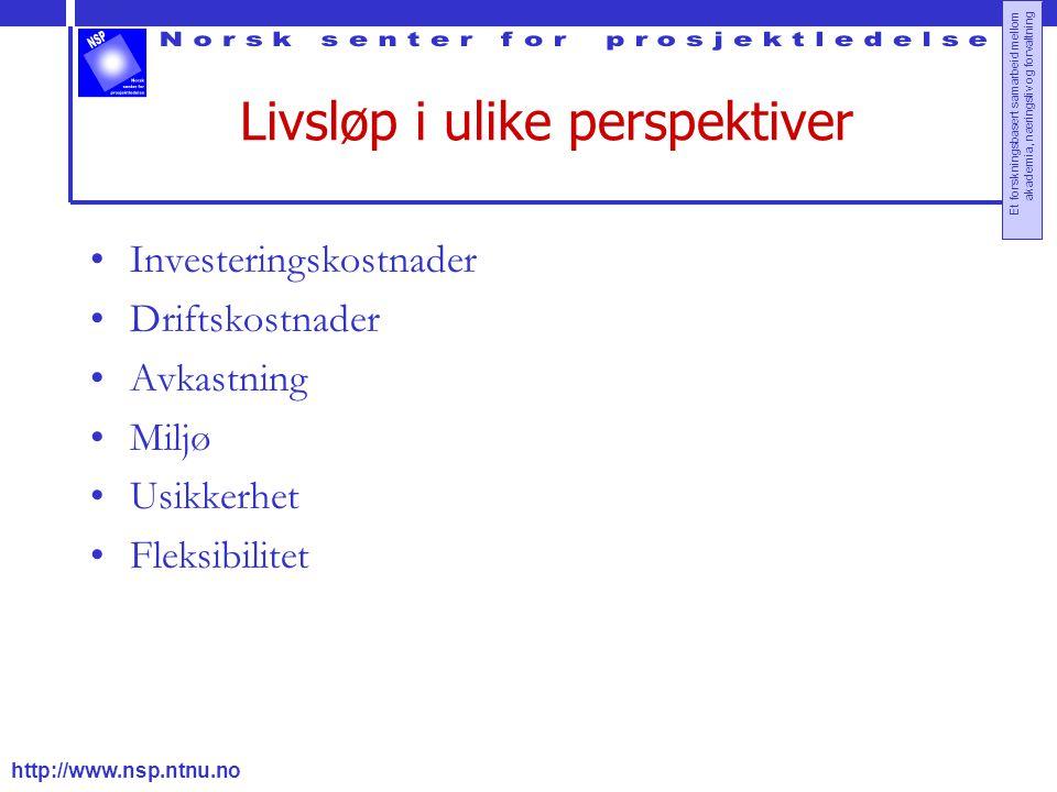 http://www.nsp.ntnu.no Et forskningsbasert samarbeid mellom akademia, næringsliv og forvaltning Livsløp i ulike perspektiver Investeringskostnader Dri
