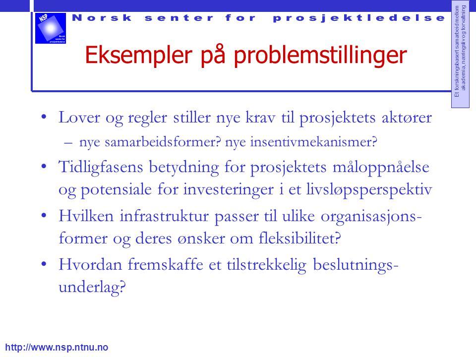 http://www.nsp.ntnu.no Et forskningsbasert samarbeid mellom akademia, næringsliv og forvaltning Eksempler på problemstillinger Lover og regler stiller nye krav til prosjektets aktører –nye samarbeidsformer.