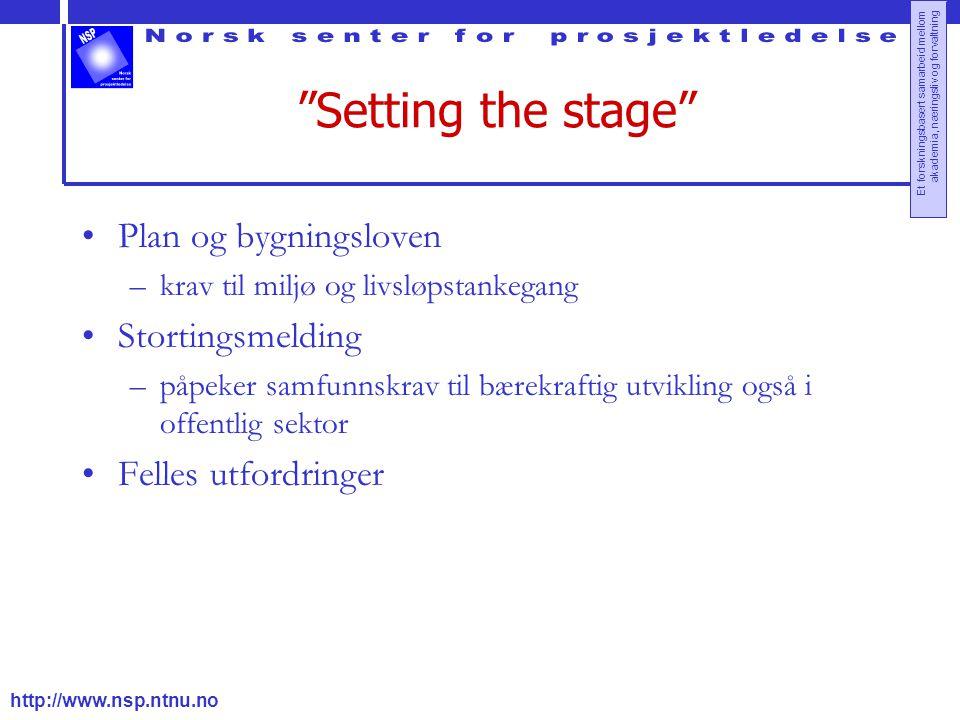 """http://www.nsp.ntnu.no Et forskningsbasert samarbeid mellom akademia, næringsliv og forvaltning """"Setting the stage"""" Plan og bygningsloven –krav til mi"""