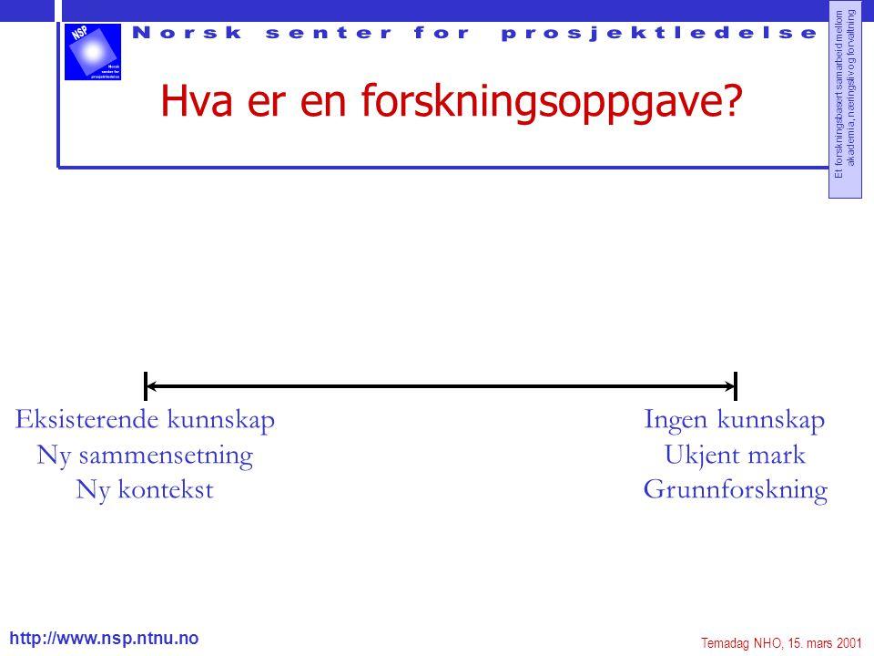 http://www.nsp.ntnu.no Et forskningsbasert samarbeid mellom akademia, næringsliv og forvaltning Hva er en forskningsoppgave? Eksisterende kunnskap Ny