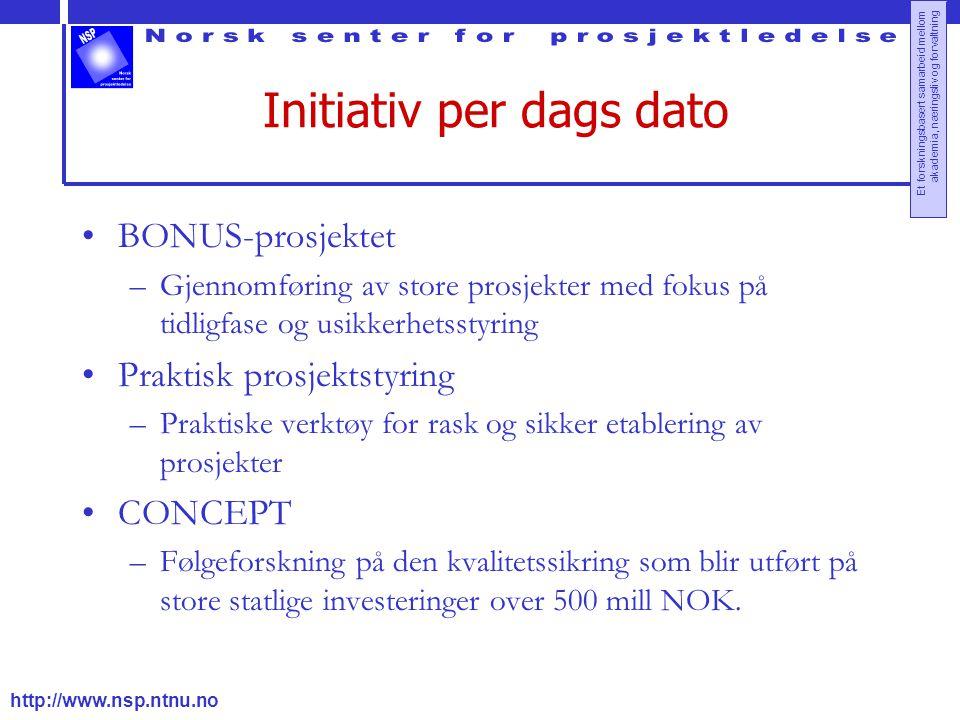 http://www.nsp.ntnu.no Et forskningsbasert samarbeid mellom akademia, næringsliv og forvaltning Initiativ per dags dato BONUS-prosjektet –Gjennomførin