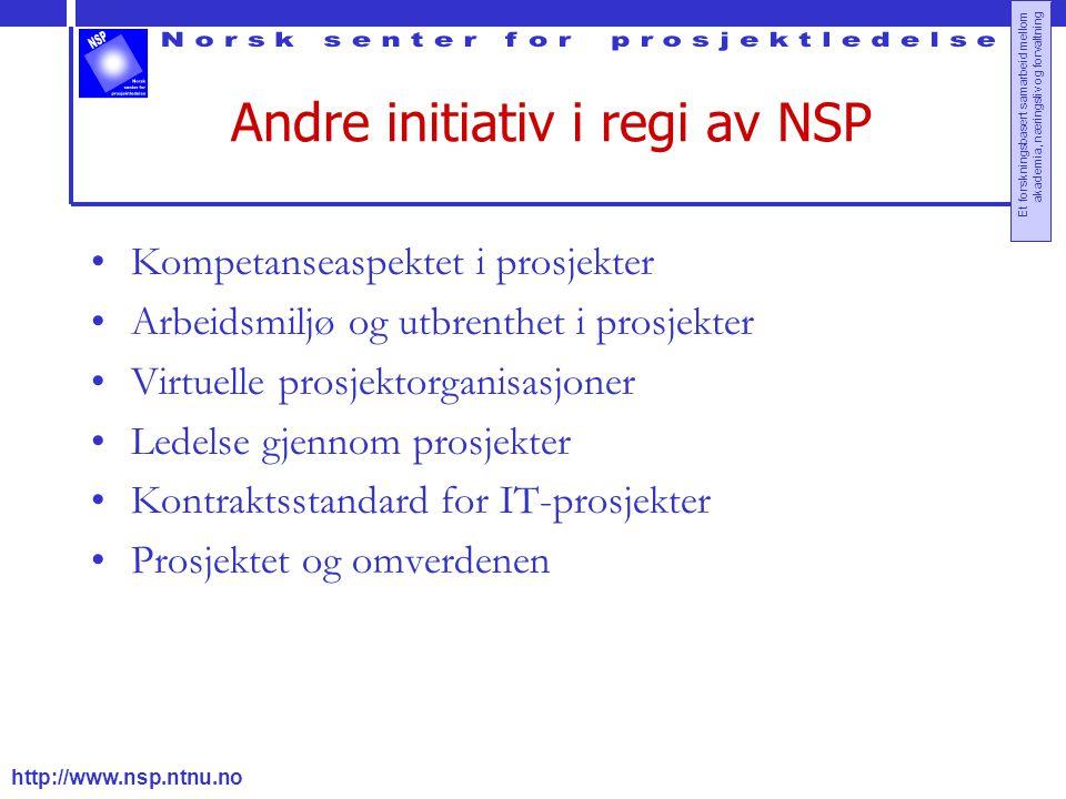 http://www.nsp.ntnu.no Et forskningsbasert samarbeid mellom akademia, næringsliv og forvaltning Andre initiativ i regi av NSP Kompetanseaspektet i prosjekter Arbeidsmiljø og utbrenthet i prosjekter Virtuelle prosjektorganisasjoner Ledelse gjennom prosjekter Kontraktsstandard for IT-prosjekter Prosjektet og omverdenen