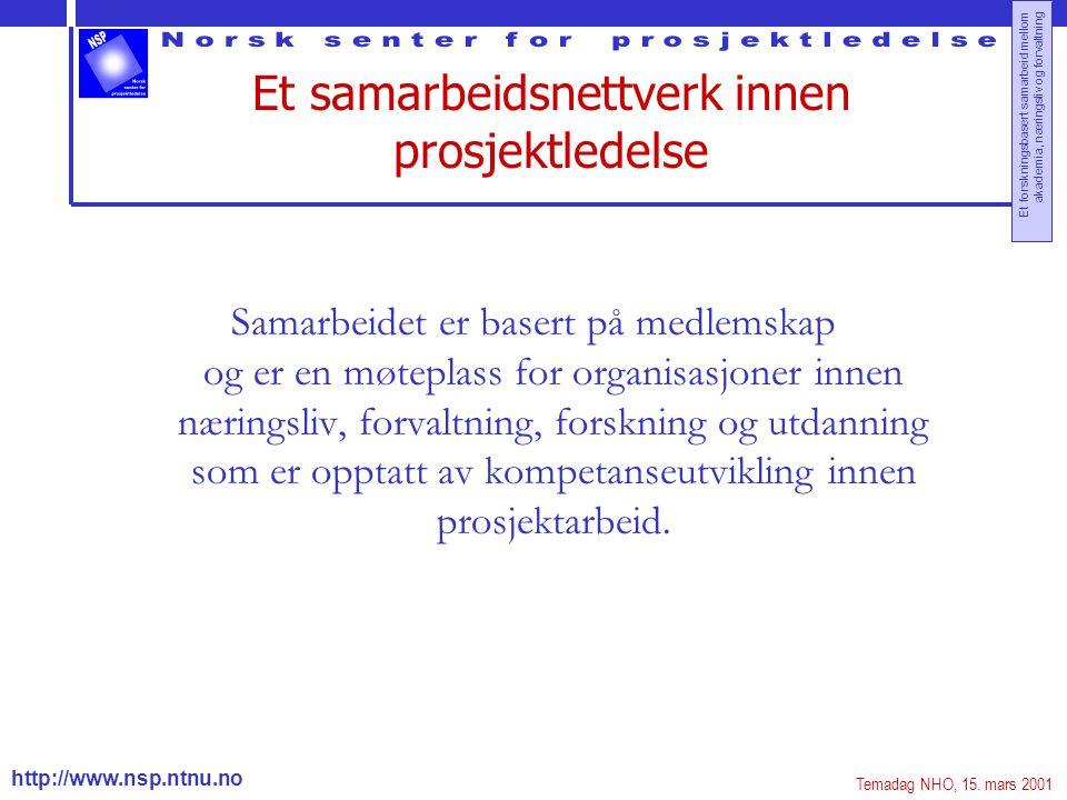 http://www.nsp.ntnu.no Et forskningsbasert samarbeid mellom akademia, næringsliv og forvaltning Et samarbeidsnettverk innen prosjektledelse Samarbeide