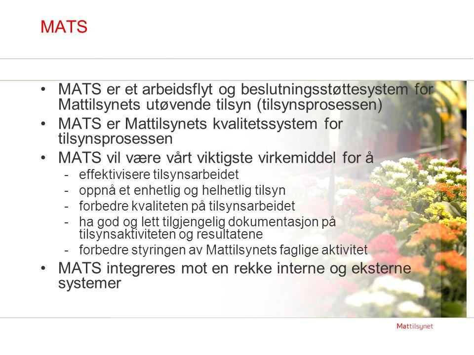 MATS MATS er et arbeidsflyt og beslutningsstøttesystem for Mattilsynets utøvende tilsyn (tilsynsprosessen) MATS er Mattilsynets kvalitetssystem for ti