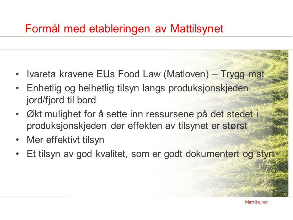 Formål med etableringen av Mattilsynet Ivareta kravene EUs Food Law (Matloven) – Trygg mat Enhetlig og helhetlig tilsyn langs produksjonskjeden jord/f
