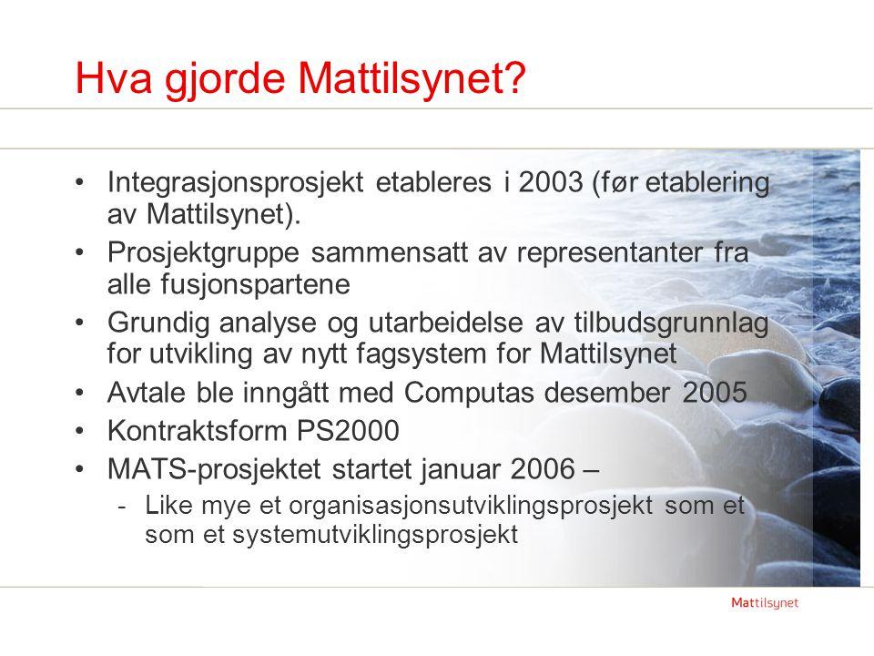 MATS MATS er et arbeidsflyt og beslutningsstøttesystem for Mattilsynets utøvende tilsyn (tilsynsprosessen) MATS er Mattilsynets kvalitetssystem for tilsynsprosessen MATS vil være vårt viktigste virkemiddel for å -effektivisere tilsynsarbeidet -oppnå et enhetlig og helhetlig tilsyn -forbedre kvaliteten på tilsynsarbeidet -ha god og lett tilgjengelig dokumentasjon på tilsynsaktiviteten og resultatene -forbedre styringen av Mattilsynets faglige aktivitet MATS integreres mot en rekke interne og eksterne systemer
