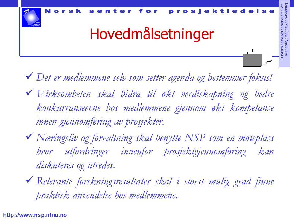 http://www.nsp.ntnu.no Et forskningsbasert samarbeid mellom akademia, næringsliv og forvaltning Hovedmålsetninger Det er medlemmene selv som setter ag