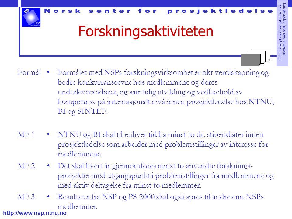 http://www.nsp.ntnu.no Et forskningsbasert samarbeid mellom akademia, næringsliv og forvaltning Forskningsaktiviteten Formål MF 1 MF 2 MF 3 Formålet m