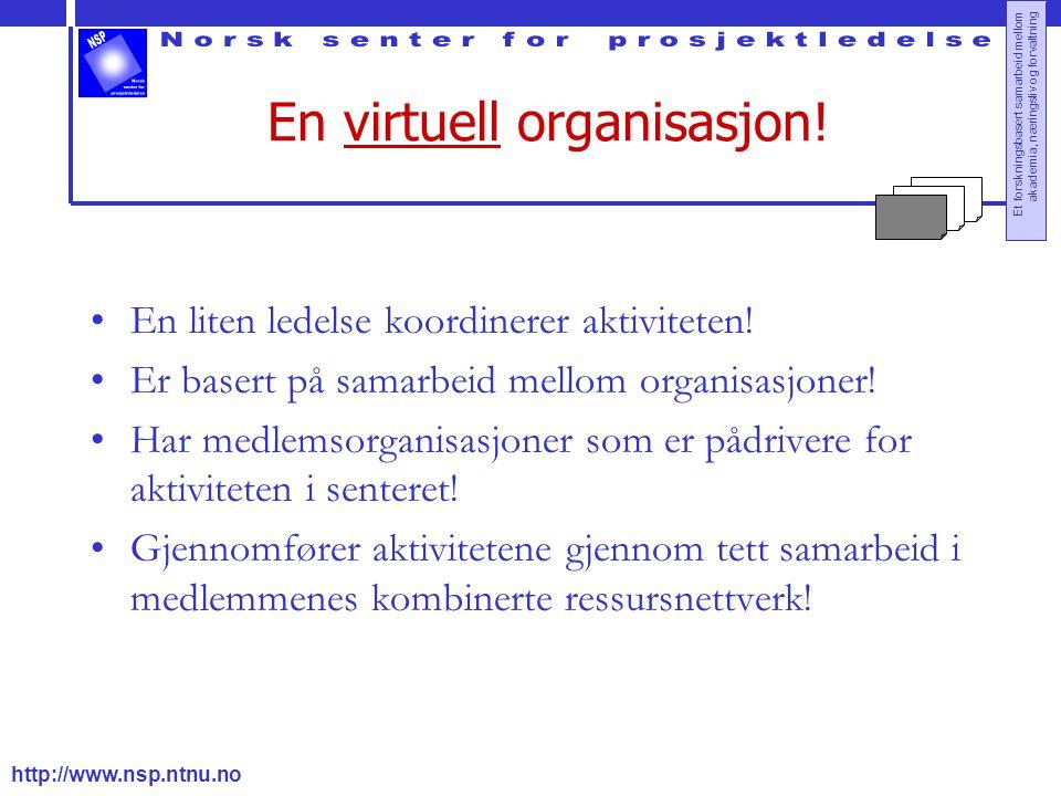 http://www.nsp.ntnu.no Et forskningsbasert samarbeid mellom akademia, næringsliv og forvaltning En virtuell organisasjon! En liten ledelse koordinerer