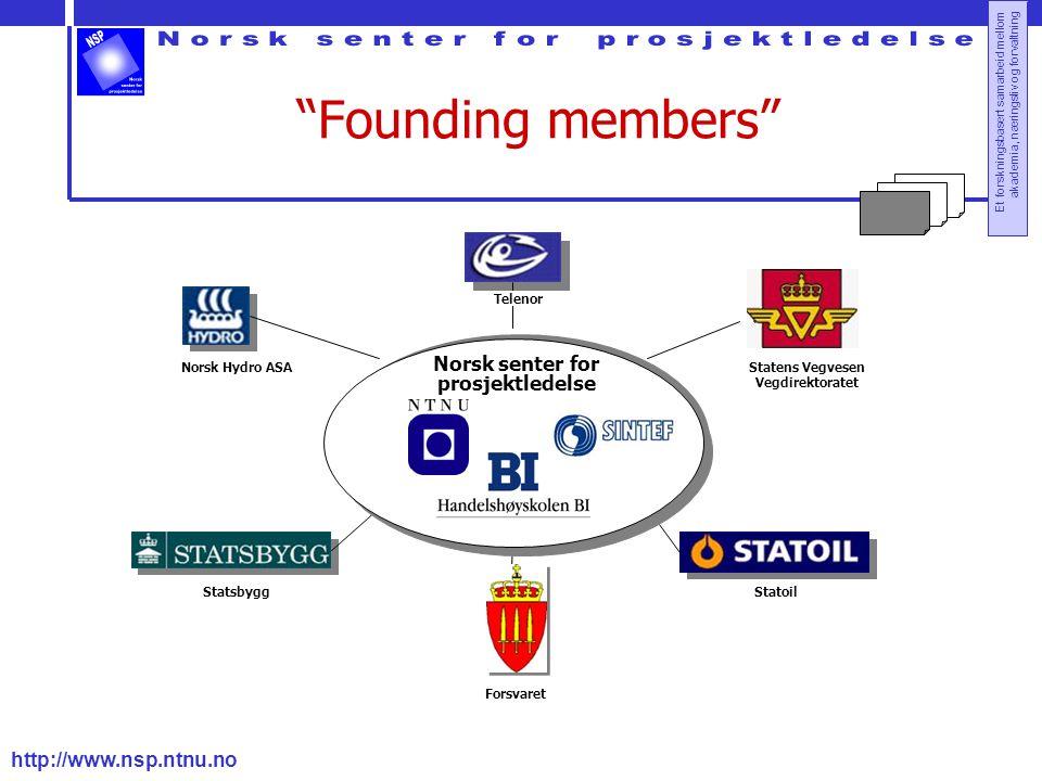 """http://www.nsp.ntnu.no Et forskningsbasert samarbeid mellom akademia, næringsliv og forvaltning """"Founding members"""" Forsvaret - Statens Vegvesen Vegdir"""