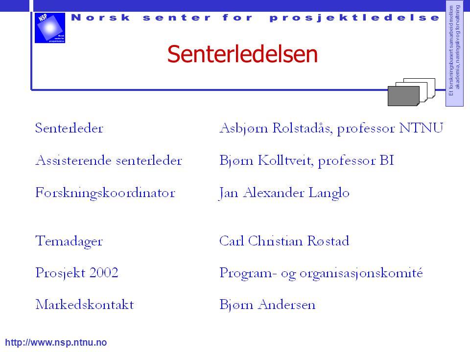http://www.nsp.ntnu.no Et forskningsbasert samarbeid mellom akademia, næringsliv og forvaltning Senterledelsen