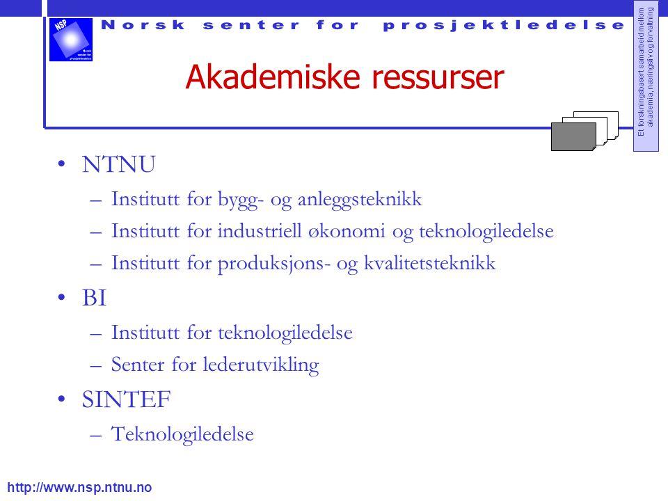 http://www.nsp.ntnu.no Et forskningsbasert samarbeid mellom akademia, næringsliv og forvaltning Akademiske ressurser NTNU –Institutt for bygg- og anle