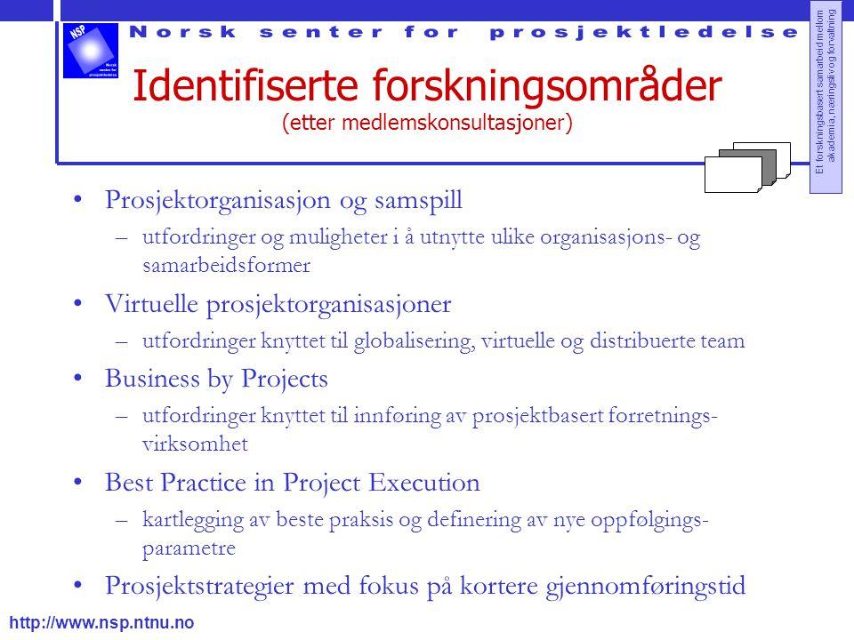 http://www.nsp.ntnu.no Et forskningsbasert samarbeid mellom akademia, næringsliv og forvaltning Identifiserte forskningsområder (etter medlemskonsulta