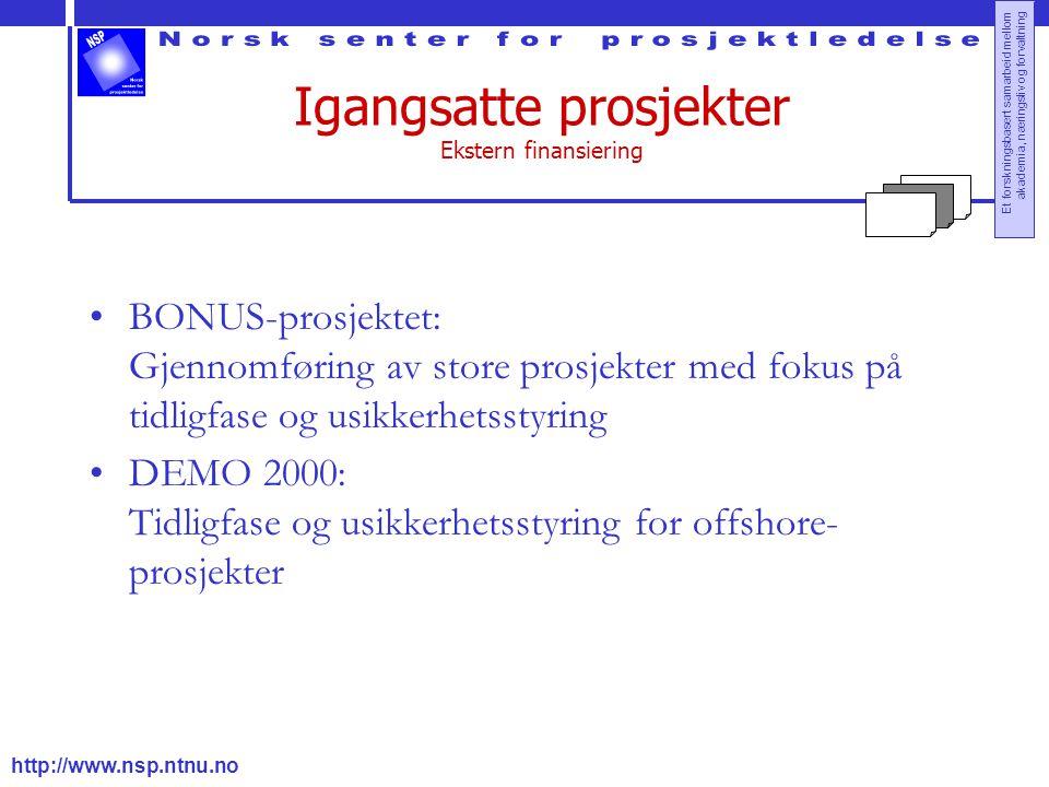 http://www.nsp.ntnu.no Et forskningsbasert samarbeid mellom akademia, næringsliv og forvaltning Igangsatte prosjekter Ekstern finansiering BONUS-prosj