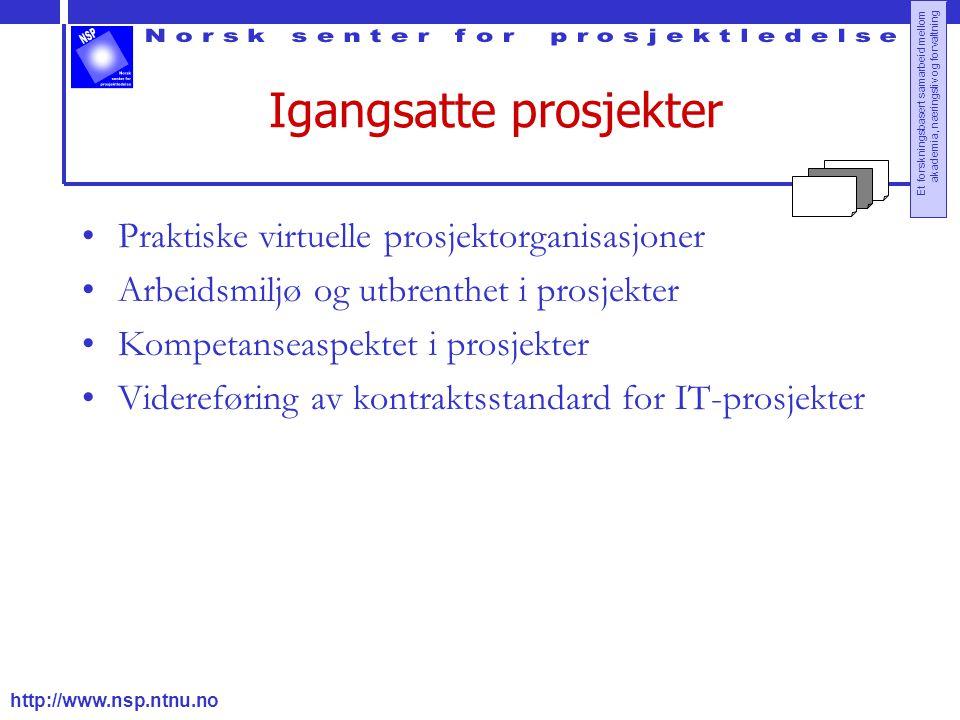 http://www.nsp.ntnu.no Et forskningsbasert samarbeid mellom akademia, næringsliv og forvaltning Igangsatte prosjekter Praktiske virtuelle prosjektorga