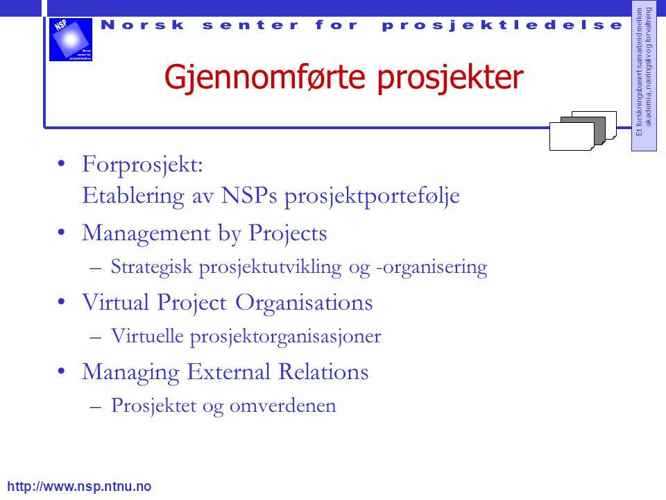 http://www.nsp.ntnu.no Et forskningsbasert samarbeid mellom akademia, næringsliv og forvaltning Gjennomførte prosjekter Forprosjekt: Etablering av NSP