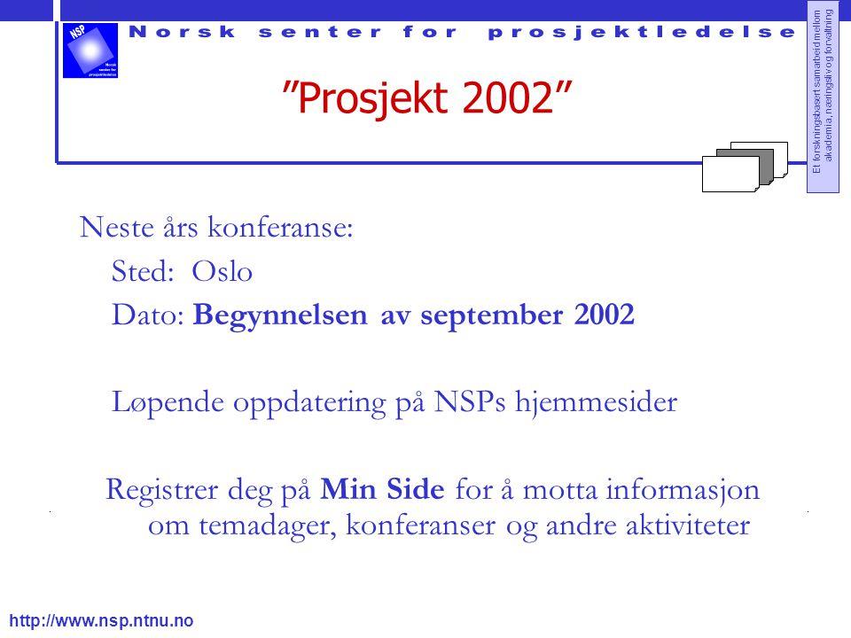 """http://www.nsp.ntnu.no Et forskningsbasert samarbeid mellom akademia, næringsliv og forvaltning """"Prosjekt 2002"""" Neste års konferanse: Sted: Oslo Dato:"""