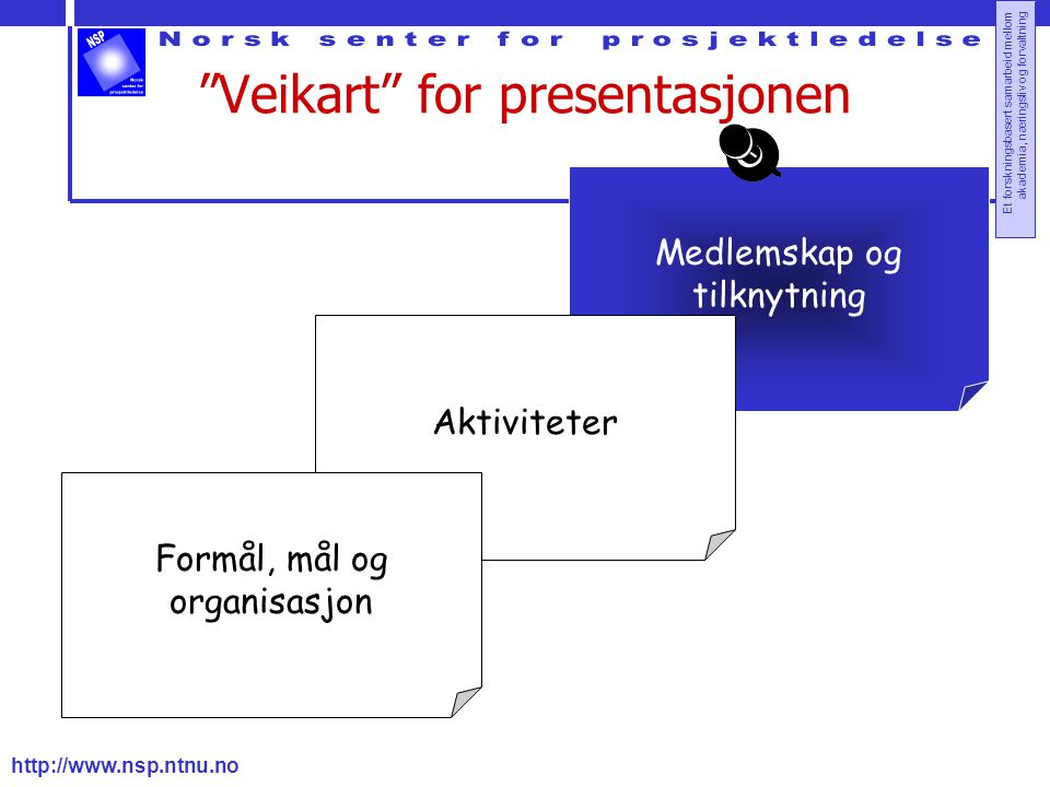 """http://www.nsp.ntnu.no Et forskningsbasert samarbeid mellom akademia, næringsliv og forvaltning """"Veikart"""" for presentasjonen Medlemskap og tilknytning"""