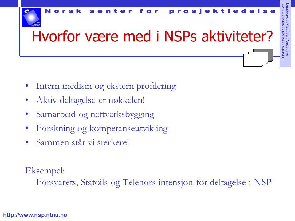 http://www.nsp.ntnu.no Et forskningsbasert samarbeid mellom akademia, næringsliv og forvaltning Hvorfor være med i NSPs aktiviteter? Intern medisin og
