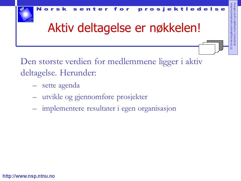 http://www.nsp.ntnu.no Et forskningsbasert samarbeid mellom akademia, næringsliv og forvaltning Aktiv deltagelse er nøkkelen! Den største verdien for