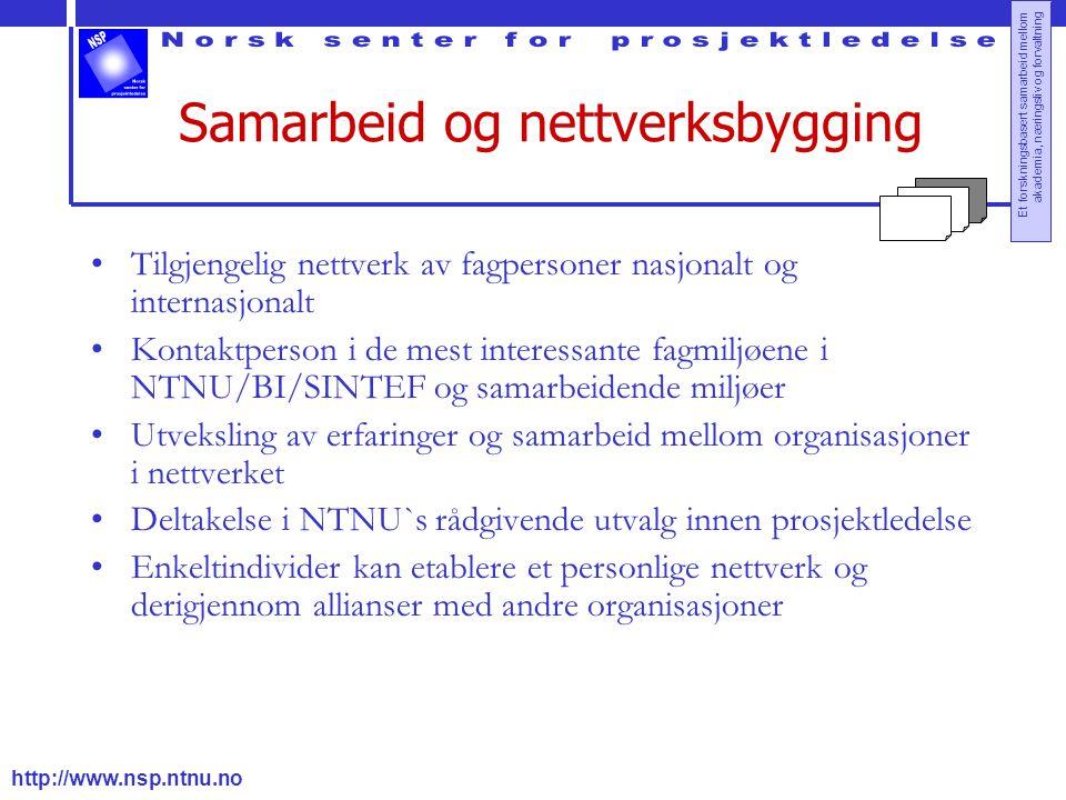 http://www.nsp.ntnu.no Et forskningsbasert samarbeid mellom akademia, næringsliv og forvaltning Samarbeid og nettverksbygging Tilgjengelig nettverk av