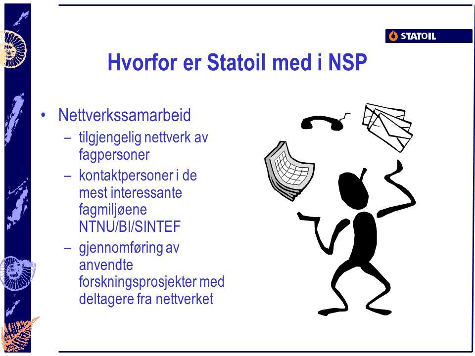 Hvorfor er Statoil med i NSP Nettverkssamarbeid –tilgjengelig nettverk av fagpersoner –kontaktpersoner i de mest interessante fagmiljøene NTNU/BI/SINT