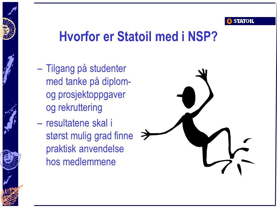 Hvorfor er Statoil med i NSP? –Tilgang på studenter med tanke på diplom- og prosjektoppgaver og rekruttering –resultatene skal i størst mulig grad fin