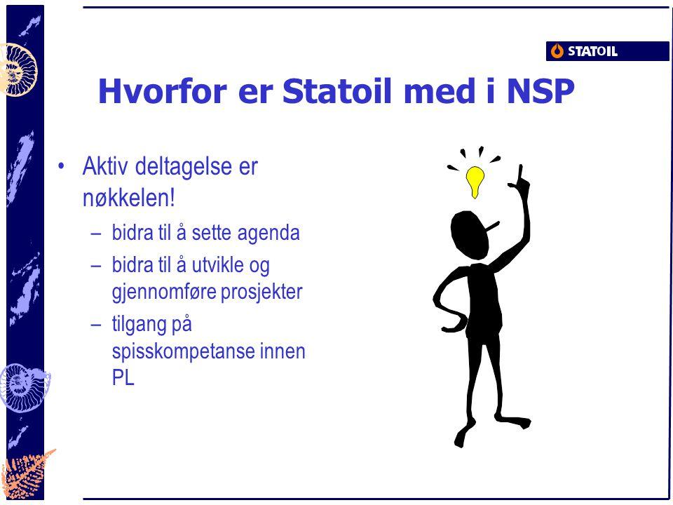 Hvorfor er Statoil med i NSP Aktiv deltagelse er nøkkelen! –bidra til å sette agenda –bidra til å utvikle og gjennomføre prosjekter –tilgang på spissk