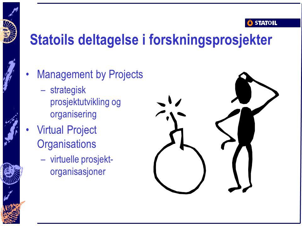 Statoils deltagelse i forskningsprosjekter Management by Projects –strategisk prosjektutvikling og organisering Virtual Project Organisations –virtuel