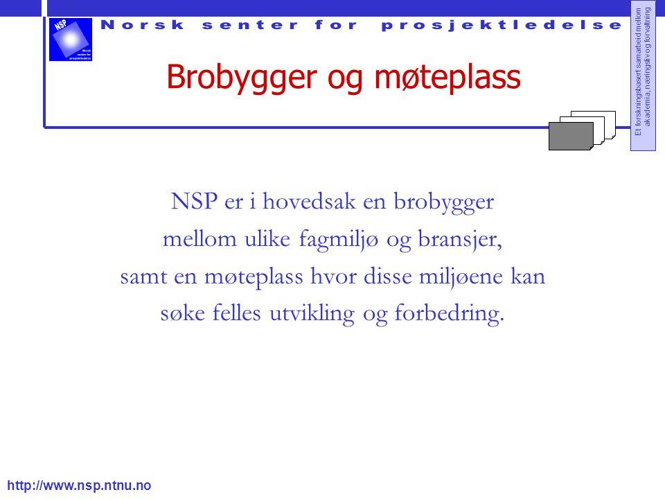 http://www.nsp.ntnu.no Et forskningsbasert samarbeid mellom akademia, næringsliv og forvaltning Brobygger og møteplass NSP er i hovedsak en brobygger