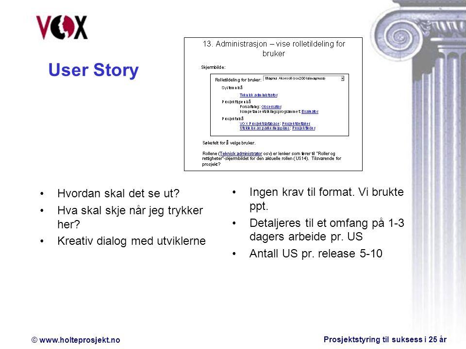 © www.holteprosjekt.no Prosjektstyring til suksess i 25 år User Story Hvordan skal det se ut.