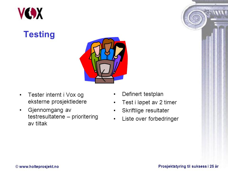© www.holteprosjekt.no Prosjektstyring til suksess i 25 år Testing Tester internt i Vox og eksterne prosjektledere Gjennomgang av testresultatene – prioritering av tiltak Definert testplan Test i løpet av 2 timer Skriftlige resultater Liste over forbedringer