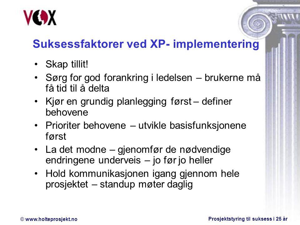 © www.holteprosjekt.no Prosjektstyring til suksess i 25 år Skap tillit.
