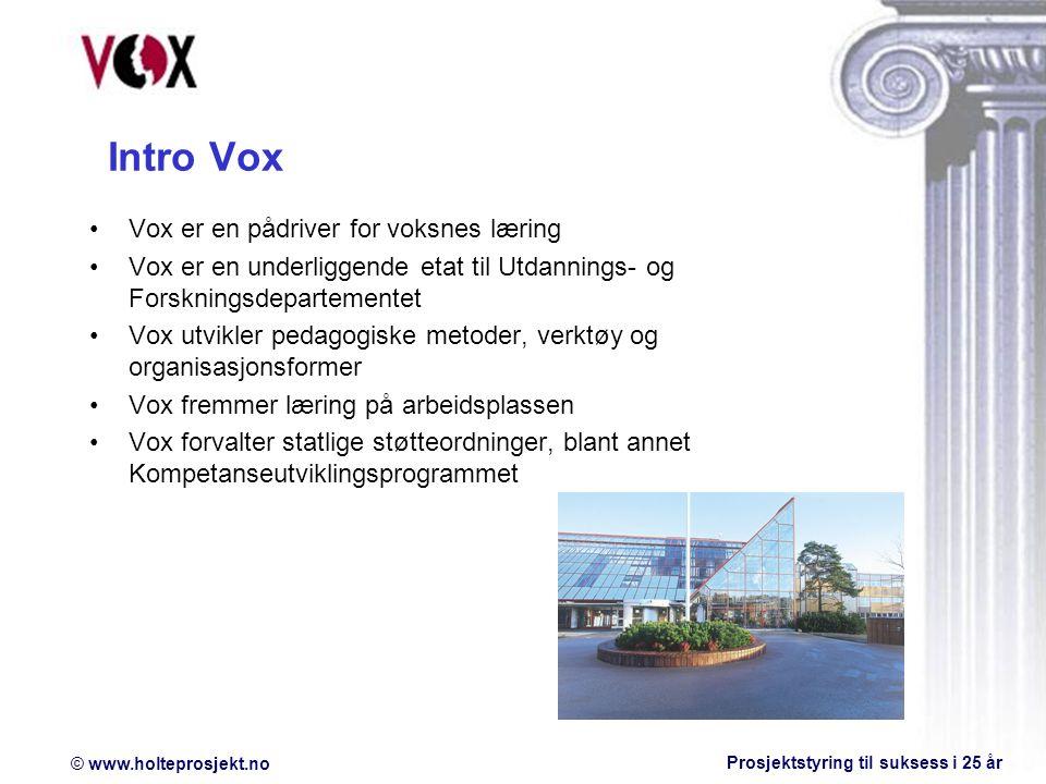 © www.holteprosjekt.no Prosjektstyring til suksess i 25 år Intro Vox Vox er en pådriver for voksnes læring Vox er en underliggende etat til Utdannings- og Forskningsdepartementet Vox utvikler pedagogiske metoder, verktøy og organisasjonsformer Vox fremmer læring på arbeidsplassen Vox forvalter statlige støtteordninger, blant annet Kompetanseutviklingsprogrammet