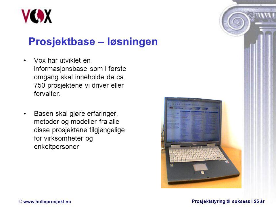 © www.holteprosjekt.no Prosjektstyring til suksess i 25 år Prosjektbase – løsningen Vox har utviklet en informasjonsbase som i første omgang skal inneholde de ca.