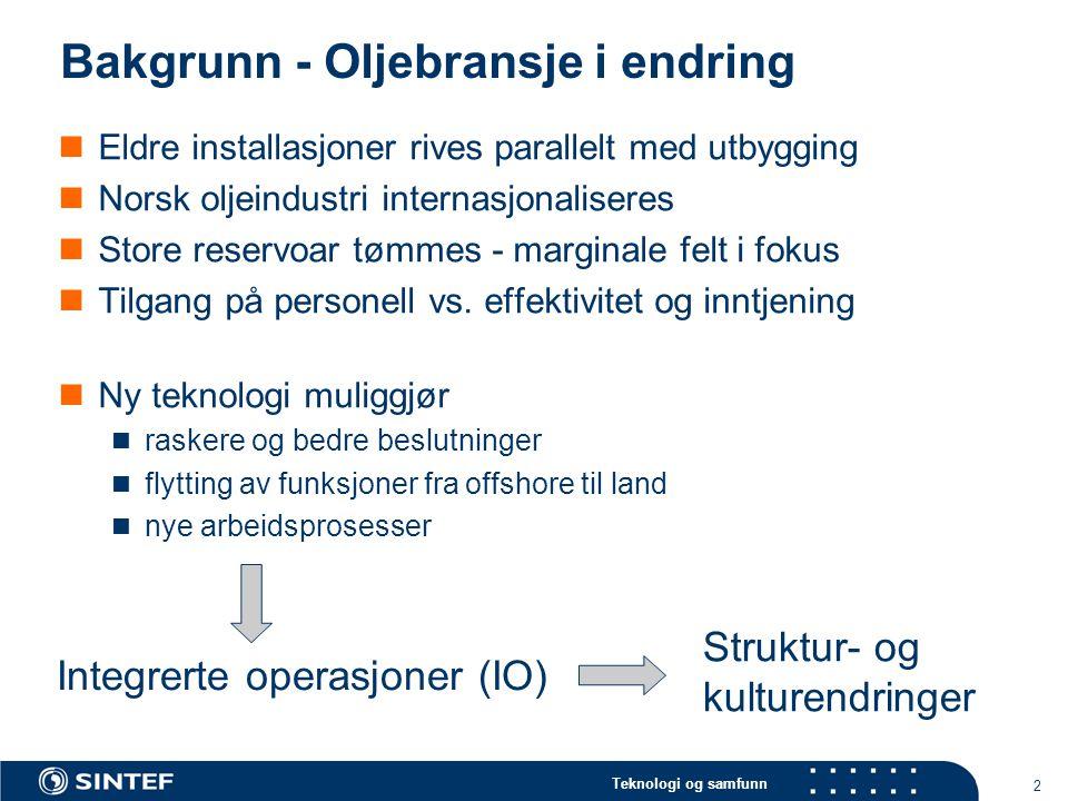 Teknologi og samfunn 2 Bakgrunn - Oljebransje i endring Eldre installasjoner rives parallelt med utbygging Norsk oljeindustri internasjonaliseres Stor